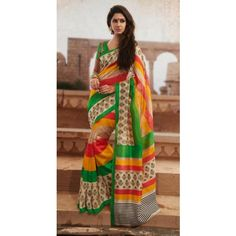 Buy Online Stylist Yellow And Orange Color Printed Saree With Lovely Print-Online Saree Shopping at Surat Sarees