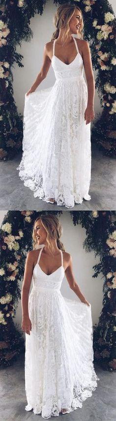 White v neck lace long prom dress, white evening dress wedding dress charming bridal dresses 10696