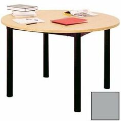 """Round Library Table - 48""""W X 48""""D X 25""""H Gray by IRONWOOD MANUFACTURING INC. $370.95. GLACIER LIBRARY TABLES 48"""" Diameter Round Table Glacier library tables provide an attractive and functional addition to classrooms, libraries, and work areas. Table top is made of 1"""" thick furniture board with thermally fused melamine laminate surfaces for a water, scratch, stain and burn resistant finish. Top is finished with a 3mm PVC edging. 16-gauge powder coated steel aprons r..."""