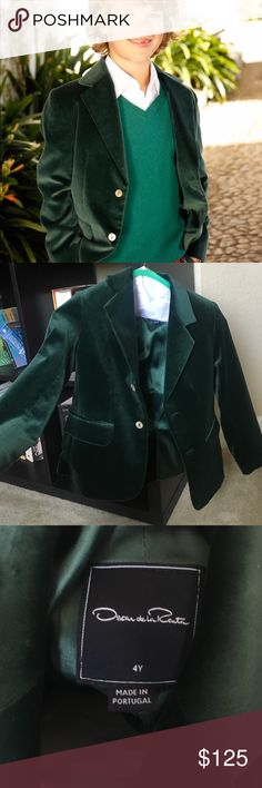 KIDS Oscar de la Renta boys Green Velvet blazer Perfect for holiday photos or parties! This velvet Oscar De La Renta blazer features a notched collar and flap hip pockets. Button front closure 100% cotton velvet Fully lined in 100% acetate Made in Portugal Worn once for Christmas card photos. Originally $285 purchased last winter 2015 Oscar de la Renta Jackets & Coats Blazers