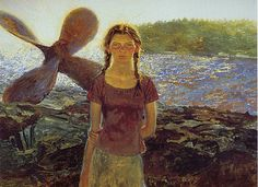 artisyoursoul: Jamie Wyeth - Katie On Southern,. Jamie Wyeth, Andrew Wyeth, Nc Wyeth, Chadds Ford, Art Database, French Artists, Great Artists, Famous Artists, Traditional Art