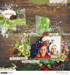 'Merry and Bright' layout by Rikki Graziani Design Team Member for Kaisercraft using Silent Night collection - Wendy Schultz - Christmas Layouts.