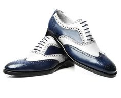 New Handmade Men Navy White Calf Leather Wingtip Brogue Dress Formal Shoes