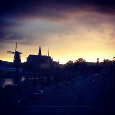 The old city of Haarlem at sunset in late september
