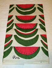 Vintage Vera Neumann Linen Dish Towel Tea Towel Watermelon Vivid and Bright