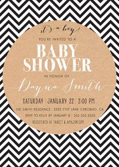 Boho Baby Boy Shower Invitation Black and White Chevron by kreynadesigns