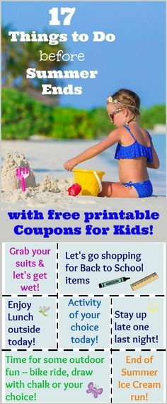 17 Things to Do before Summer Ends & FREE Activity Coupons for Kids End of summer activities & free coupons for kids! Surprise your kids before back to school. Printable Activities For Kids, Summer Activities For Kids, Craft Activities For Kids, Kids Fun, Toddler Activities, Summer Crafts For Kids, Summer Kids, Kids Crafts, Free Printable Coupons