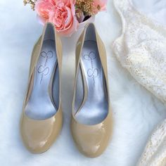 •NWOT• Tan/Nude Jessica Simpson Calie Heels• →Size: 6.5 →Color: Nude → 3 inch heel →Never worn, (New without box) →Super cute for the office.  →No trades(comments will politely be ignored). →10% off 2+ items  Jessica Simpson Shoes Heels