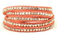 Tangerine Pink Coral Wrap Bracelet / Five Wrap Leather Bracelet. Via Etsy.