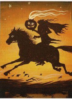Aceo Print of Painting Ryta Headless Horseman JOL Halloween Horse Folk Art