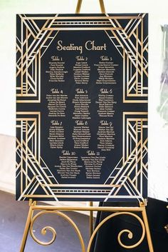 Beautiful black and gold geometric seating chart - perfect for an art deco or great gatsby themed weddng Great Gatsby Party, Great Gatsby Motto, Great Gatsby Invitation, Great Gatsby Themed Wedding, Art Deco Wedding Invitations, 1920s Wedding, Gold Wedding, Wedding Table, Trendy Wedding