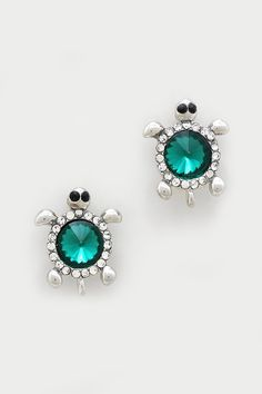 Crystal Turtle Earrings in Emerald on Emma Stine Limited - cheap womens costume jewelry, cool womens jewelry, cheap womens fashion jewelry Turtle Earrings, Turtle Jewelry, Animal Jewelry, Jewelry Box, Jewelry Accessories, Fashion Accessories, Women Jewelry, Turtle Love, Fashion Earrings