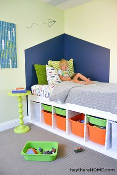 DIY twin platform bed with storage made from IKEA shelves to give you a ton of toy storage! Click through for the step-by-step tutorial. (No saw required for this IKEA hack! Under Bed Storage Frame, Kids Beds With Storage, Bed Designs With Storage, Twin Storage Bed, Platform Bed With Storage, Diy Platform Bed, Diy Bed Frame, Kids Bunk Beds, Ikea Platform Bed Hack