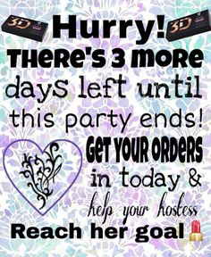 3 more days until the party ends! Get your orders in