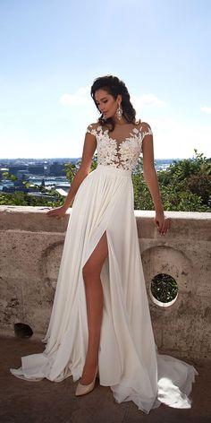 Designer Highlight: Milla Nova Wedding Dresses ❤️ sexy lace beach wedding dresses with high slit cap sleeves mila nova ❤️ See more: http://www.weddingforward.com/milla-nova-wedding-dresses/ #weddingforward #wedding #bride #bridalgown