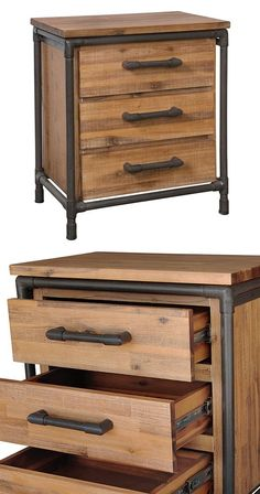 Tuck your nighttime necessities away in this handsome side table. Beautifully made with an acacia wood body and industrial-style, black-finished metal pipe framing, this Mission Nightstand will feel a(Mix Wood Furniture) Industrial Bedroom, Industrial Pipe, Industrial House, Modern Industrial, Vintage Industrial, Rustic Industrial Furniture, Kitchen Industrial, Industrial Farmhouse, Metal Pipe