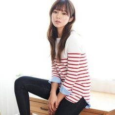 ANNINA  Contrast Dip-Back Stripe T-Shirt