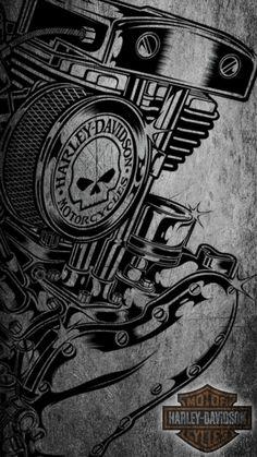 Harley wallpaper Source by fuchspowerbikes Harley Davidson Logo, Harley Davidson Kunst, Harley Davidson Engines, Harley Davidson Pictures, Harley Davidson Tattoos, Harley Davidson Wallpaper, Harley Davidson Motorcycles, Yamaha Motorcycles, Motos Harley