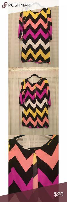 Multicolor chevron dress Shift dress with slit sleeves 3/4 length Necessary Clothing Dresses Mini