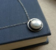 Simple Pearl necklace, Pearl solitaire, sterling silver, eternity, eternity necklace, bridesmaid necklaces, karma necklace