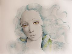 Erica Calardo - Alma - graphite, colored pencils and watercolor on Arches paper. 2014