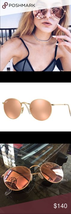 86dbfe3d93b4 Ray Ban Round Copper Flash Lenses Gold Round style flash sunglasses. Copper  lenses with