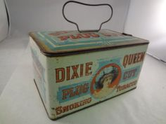 DIXIE QUEEN TOBACCO TIN TOBACCO LUNCH PAIL VINTAGE ADVERTISING  $99.00