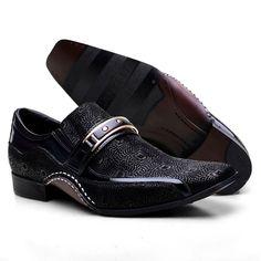 e8b70a3d5d Sapato Social Masculino Calvest Preto com Metal Dourado Estampado 1930C229  - Sapatos CALVEST
