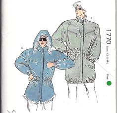 a28e1882ab Parka Pattern Ski Coat Lined or Unlined Anorak Jacket Hooded 80s Retro Sewing  Kwik Sew