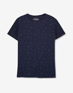 Pull&Bear - man - clothing - t-shirts - geometric print t-shirt - navy - 05237508-V2017