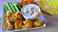 Simply Healthy Family: Baked Cauliflower with Buffalo Sauce and Home Made Blu Cheese Dressing