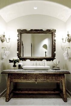 by Sandra Espinet. The carved Indonesian table which was utilized as a vanity in this bath.Interiors by Sandra Espinet. The carved Indonesian table which was utilized as a vanity in this bath. Home Interior, Interior And Exterior, Interior Decorating, Interior Ideas, Indonesian Decor, Bali Decor, Deco Boheme, Beautiful Bathrooms, Glamorous Bathroom