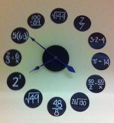Clock with numbers represented by maths problems. Children to make their own with simple problems (e.g. 2 could be represented as 5-3 =).