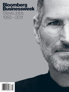 """Bloomberg Business Week with Steve Jobs. The cover, featuring a photograph of Steve Jobs, presented Steve Jobs over a background of Pantone 877 silver, a colour chosen as a nod to the backs of iPods. The back of the magazine continued the silver colour, with the message """"Goodbye"""" embedded in a Mac screen."""