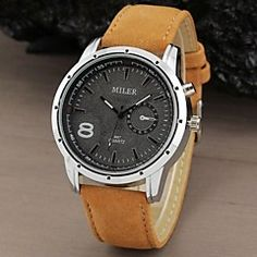 Men's Watch Military Water Resistant Leather Band – USD $ 7.59