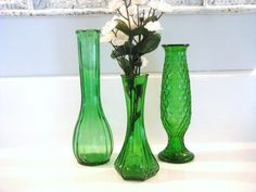 vintage glass vases green vase collection by NiftyandThriftyFinds, $22.00