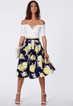 Missguided Gabriele Full Midi Skirt In Floral Print Navy on shopstyle.com