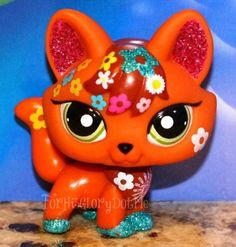 ✵Littlest Pet Shop✵LPS✵2341✵ORANGE BROWN GLITTER SPARKLE FOX✵CAT✵SHIMMER N SHINE