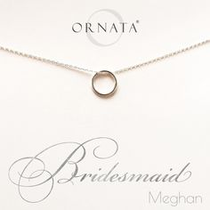 """""""Bridesmaid"""" Personalized Sterling Silver Necklace 