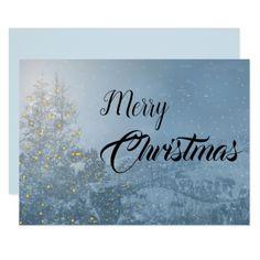Snowy Christmas Tree Merry Christmas Wishes Card - merry christmas diy xmas present gift idea family holidays