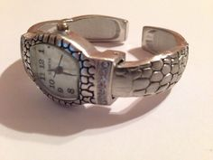 New Geneva Brushed Silver Reptile Rhinestone Bangle Cuff Watch #Geneva #Fashion