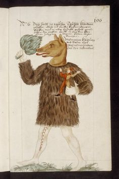 "Bodleian, MS. Douce 346 f.268r. Nuremberg Shrovetide Carnival (1449-1539). Schembartsbuch. c.1590-1640 (?).  ""No. 6. Man in costume of the fur of a bear, mask of head of a pig, and carrying small figure of a fool."""