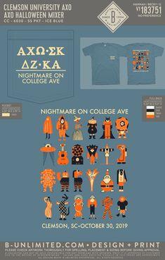 Alpha Chi Omega Halloween Mixer Shirt | Sorority Event | Greek Event #alphachiomega #alphachi #axo #halloween Delta Zeta, Sigma Kappa, Alpha Chi Omega, Graphic Design, Holidays, Halloween, Holidays Events, Holiday, Visual Communication