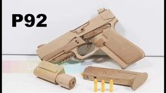 How To Make A Full Toy Pistol P92 From Cardboard Gun DIY Easy Wooden Projects, Fun Projects, Wood Wine Holder, Rubber Band Gun, Wooden Toy Trucks, How To Make Toys, Cosplay Diy, Cardboard Crafts, Easy Diy Crafts