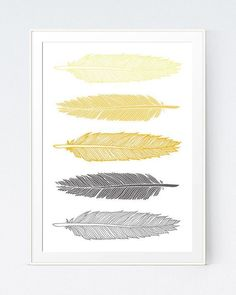 Grey Gray Yellow Feather Print Mustard and Gray by SutilDesigns #weddingjewelry