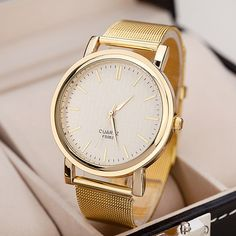 Cheap montre brand, Buy Quality montre fashion directly from China montre femme Suppliers: 2017 relogio de ouro fashion gold mesh belt ladies quartz-watch full stainless steel watches women luxury brand montre femme Gold Watches Women, Watches For Men, Wrist Watches, Analog Watches, Unique Watches, Cheap Watches, Ladies Dress Watches, Mesh Band, Casual Watches