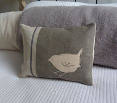 helkatdesign - hand printed little grey wren cushion