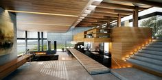 Modern wood and concrete interior, a beautiful openspace solution