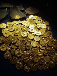 The Didcot Hoard - a cache of Roman coins discovered with a metal detector in the 1990's near Didcot, Oxfordshire