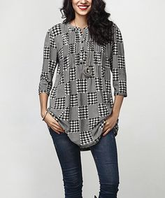 Black Houndstooth Notch Neck Pin-Tuck Tunic
